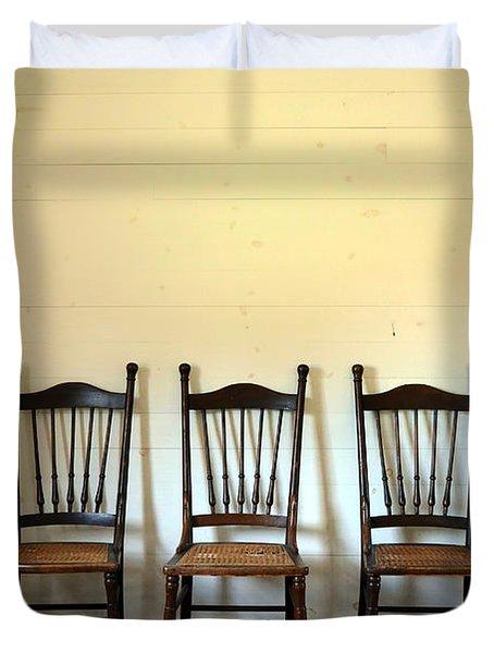 Three Antique Chairs Duvet Cover by Jill Battaglia