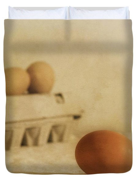 Three Eggs And A Egg Box Duvet Cover