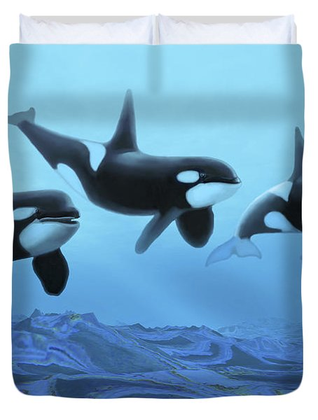 Three Male Killer Whales Swim Duvet Cover by Corey Ford