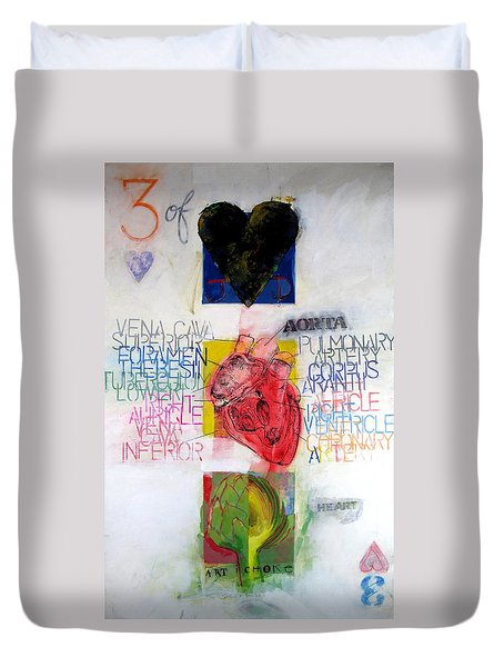 Duvet Cover featuring the painting Three Of Hearts 32-52 by Cliff Spohn