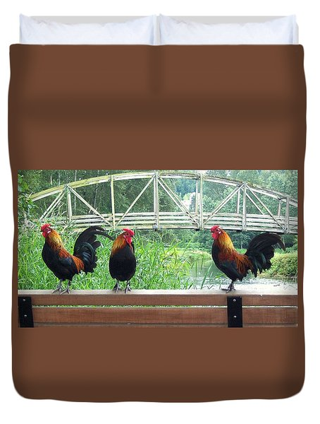 Three Roosters  Duvet Cover