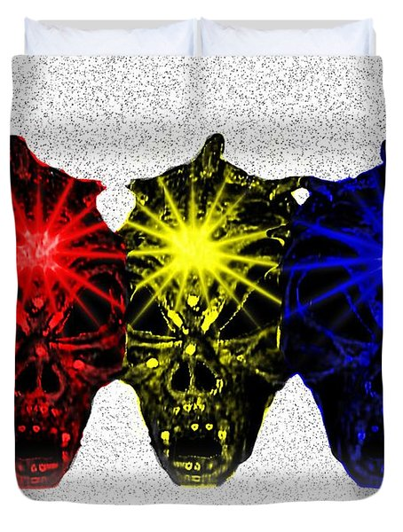 Duvet Cover featuring the photograph Three Skulls by Blair Stuart