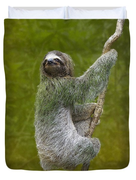 Three-toed Sloth Climbing Duvet Cover by Heiko Koehrer-Wagner