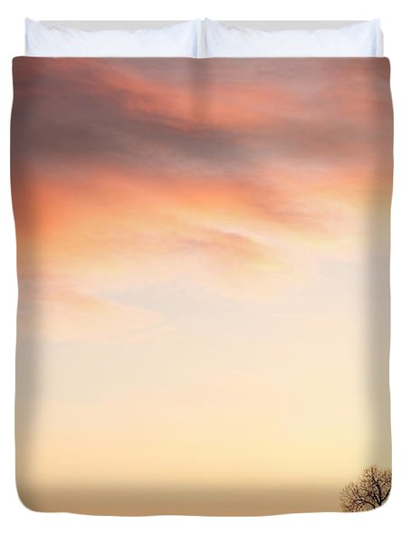 Three Trees Sunrise Sky Landscape Duvet Cover by James BO  Insogna