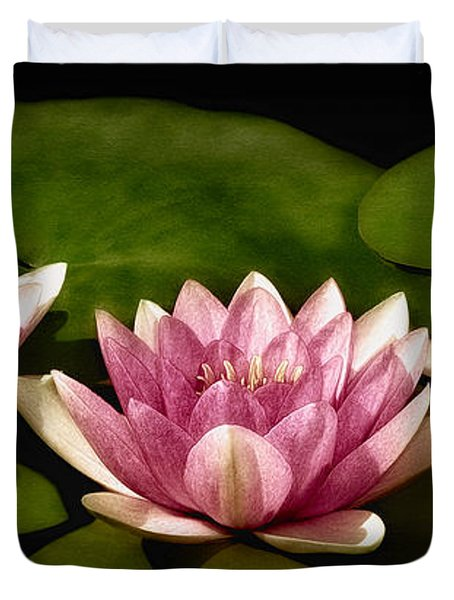 Three Water Lilies Duvet Cover by Susan Candelario