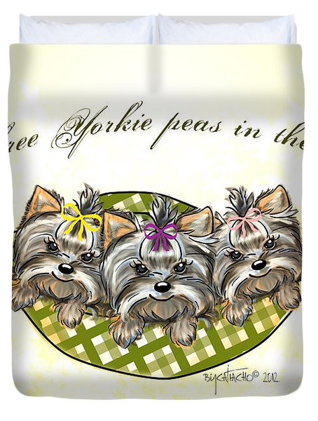 Three Yorkie Peas In The Pod Duvet Cover