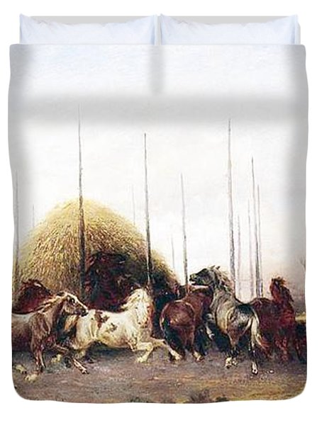 Threshing Wheat In New Mexico Duvet Cover by Thomas Moran