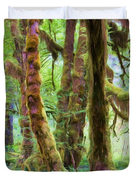 Through Moss Covered Trees Duvet Cover by Heidi Smith