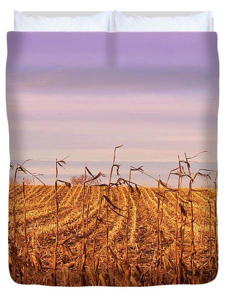 Duvet Cover featuring the photograph Through The Cornfield by Rachel Cohen