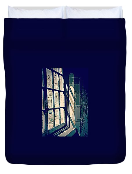 Duvet Cover featuring the photograph View Through The Window - Painterly Effect by Marilyn Wilson