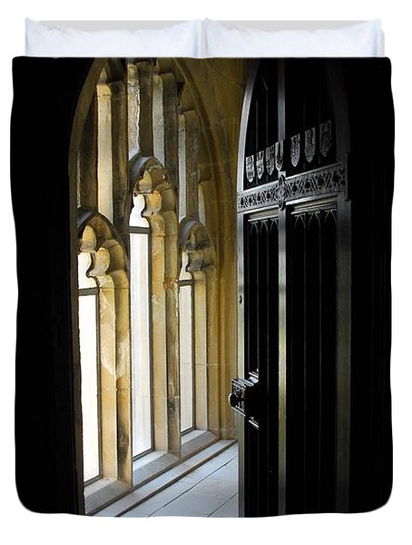 Duvet Cover featuring the photograph Thru The Chapel Door by Cindy Manero
