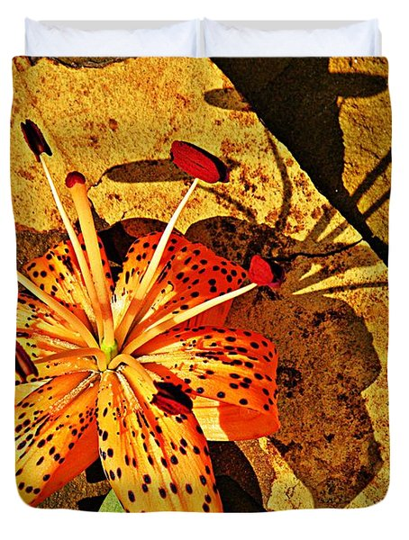 Tiger Lily Still Life  Duvet Cover by Chris Berry