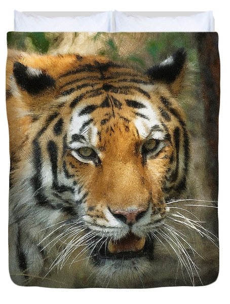Tiger Painterly Square Format  Duvet Cover by Ernie Echols