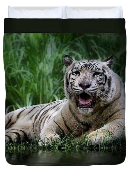 Tiger White Duvet Cover