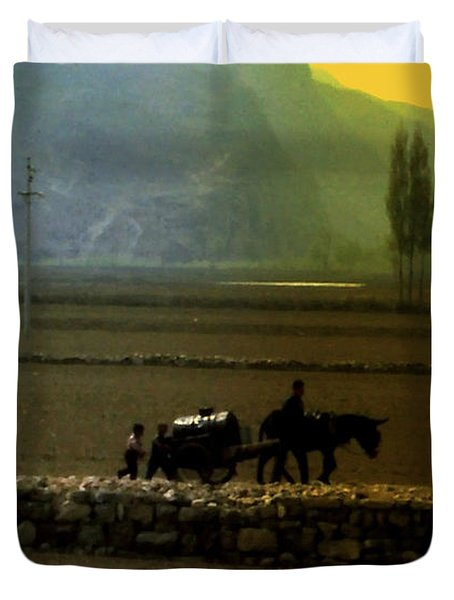 Duvet Cover featuring the photograph 'til The Day Is Done by Lydia Holly