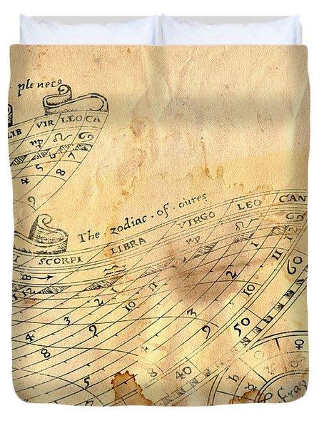 Time - Horoscope Signs Duvet Cover by Michal Boubin