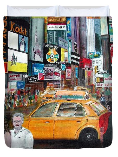 Times Square Duvet Cover by Anna Ruzsan