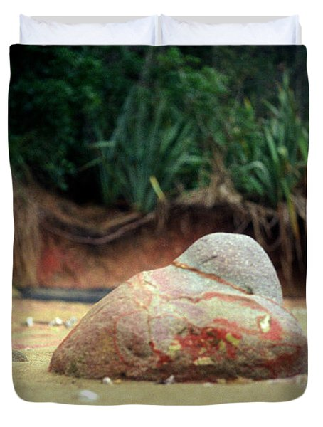 Duvet Cover featuring the photograph Tinopai Beach Rock by Mark Dodd