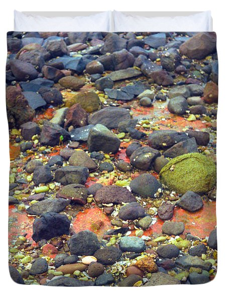 Duvet Cover featuring the photograph Tinopoi Beach Rocks by Mark Dodd