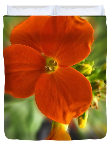 Duvet Cover featuring the photograph Tiny Orange Flower by Debbie Portwood