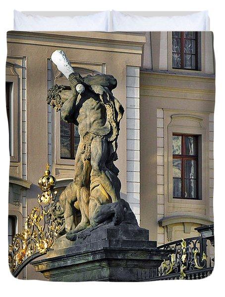 Titans Battling Outside Prague Castle Duvet Cover by Christine Till