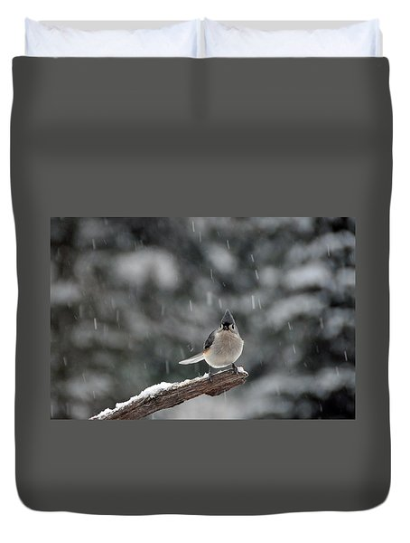 Titmouse Endures Snowstorm Duvet Cover by Mike Martin