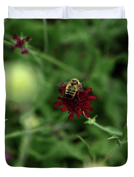 Duvet Cover featuring the photograph To Bee by Lorraine Devon Wilke