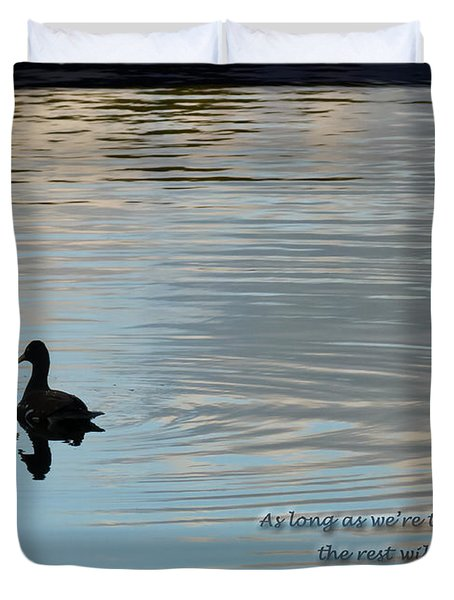 Duvet Cover featuring the photograph Together by Steven Sparks