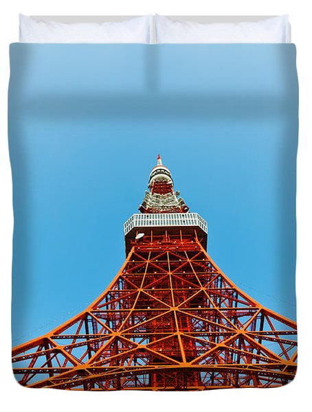 Tokyo Tower Faces Blue Sky Duvet Cover by U Schade