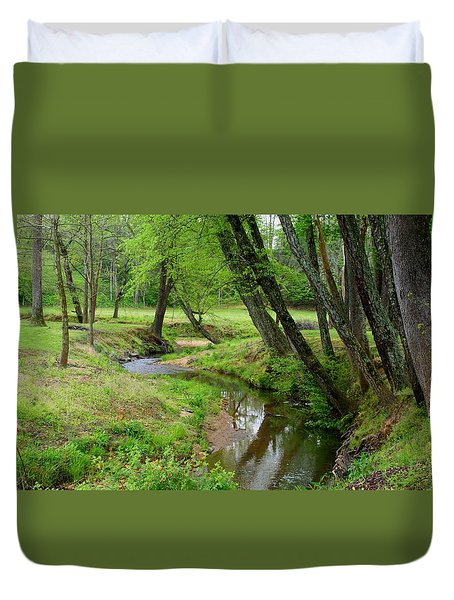 Duvet Cover featuring the photograph Toms Creek In Early Spring by Kathryn Meyer