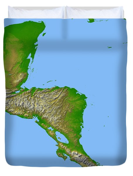 Topographic View Of Central America Duvet Cover by Stocktrek Images