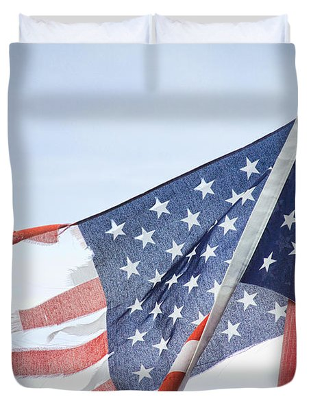 Torn American Flag Duvet Cover by James BO  Insogna