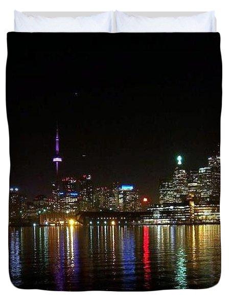 Toronto Skyline At Night Duvet Cover by Lingfai Leung