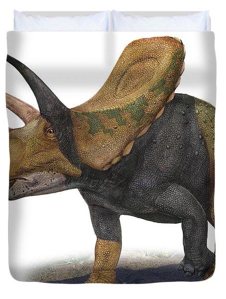 Torosaurus Latus, A Prehistoric Era Duvet Cover by Sergey Krasovskiy