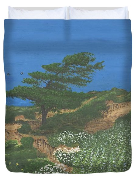 Torrey Pines And Pelicans Duvet Cover