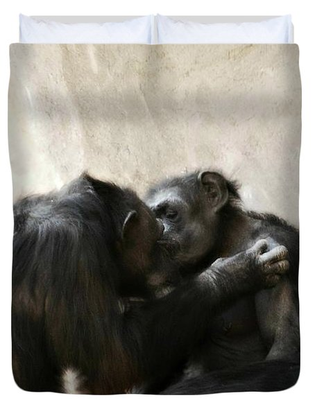 Touching Moment Gorillas Kissing Duvet Cover by Peggy Franz
