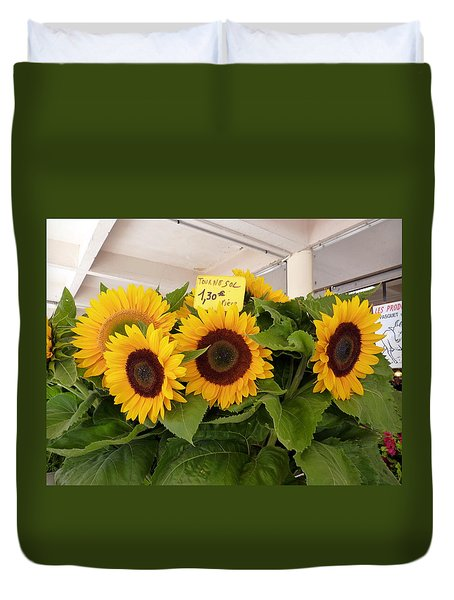 Duvet Cover featuring the photograph Tournesol by Carla Parris