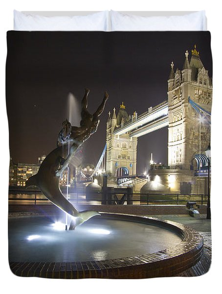Tower Bridge Girl With A Dolphin Duvet Cover by David French