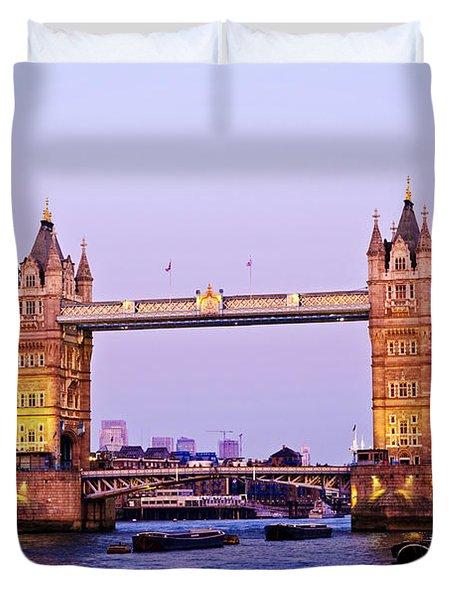 Tower Bridge In London At Dusk Duvet Cover by Elena Elisseeva
