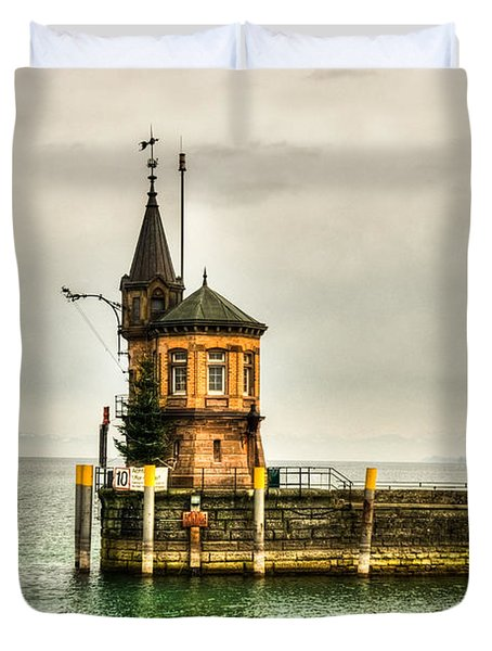 Tower On Lake Duvet Cover by Syed Aqueel