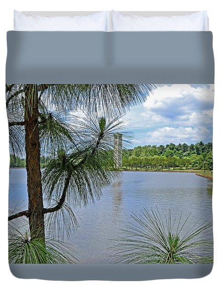 Tower Thru The Pine Duvet Cover by Larry Bishop