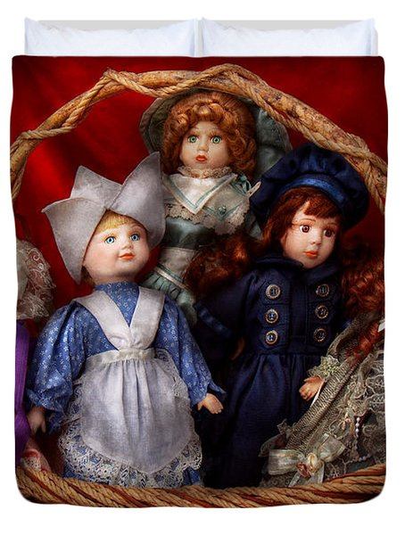 Toy - Dolls - A Basket Of Victorian Dolls  Duvet Cover by Mike Savad