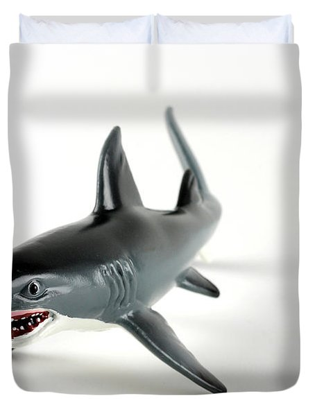 Toy Shark Duvet Cover by Photo Researchers, Inc.