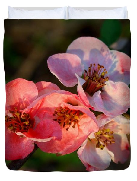Duvet Cover featuring the photograph Toyo Nishiki Quince by Kathryn Meyer