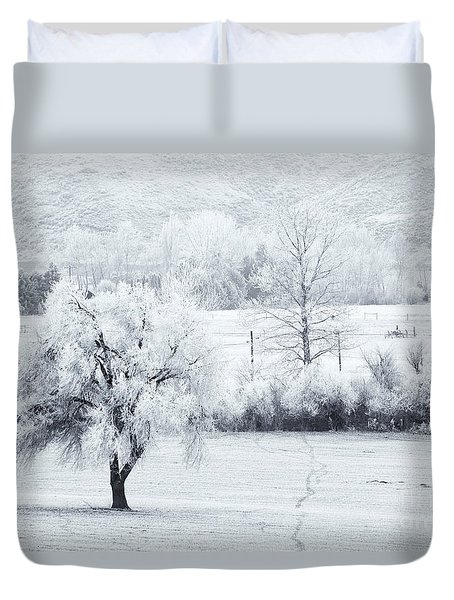 Tracks In The Frost Duvet Cover by Mike  Dawson
