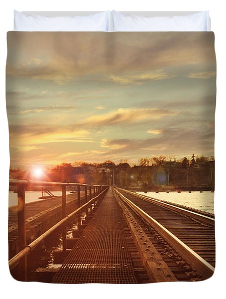 Tracks To Greatness Duvet Cover by Joel Witmeyer