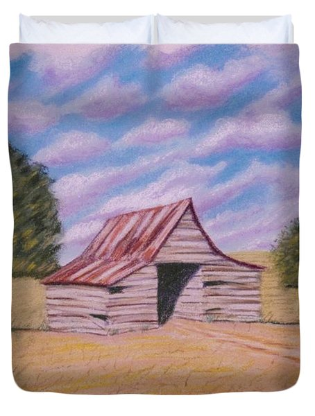 Duvet Cover featuring the pastel Tractor Shed by Stacy C Bottoms