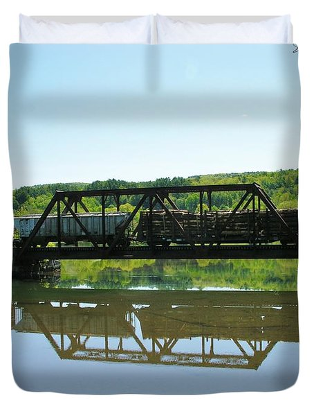 Duvet Cover featuring the photograph Train And Trestle by Sherman Perry