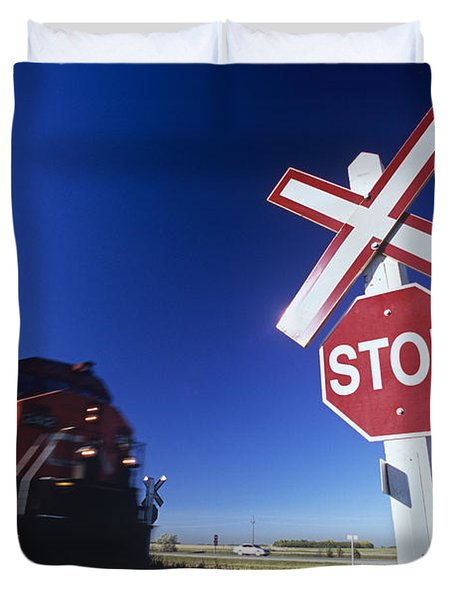 Train Passing Railway Crossing Duvet Cover by Dave Reede