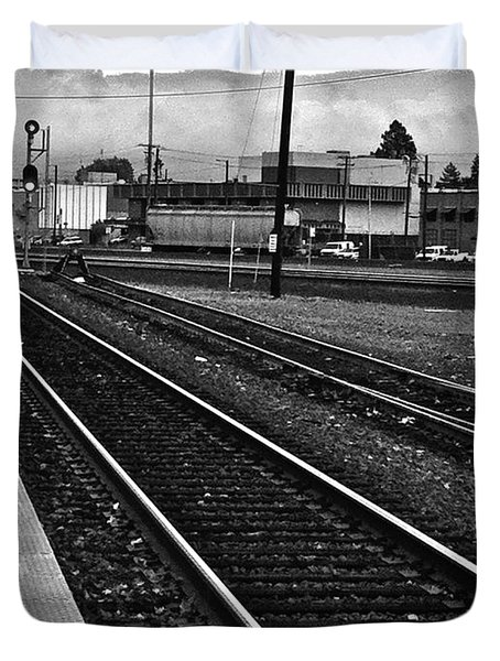 Duvet Cover featuring the photograph train tracks - Black and White by Bill Owen